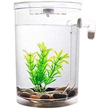 POPETPOP Mini Pequeño Acuario Tanque de Peces de Acrílico Cambio de Agua Libre Transparente Tanque de