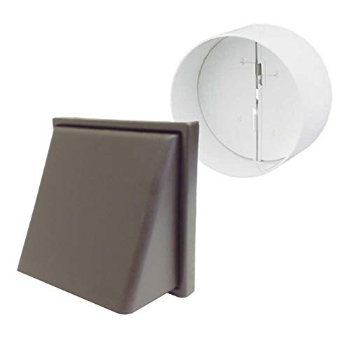 Back Cowl (Brown Hooded Cowl Extractor Air Vent & Back Draught Ducting Shutter 4 Inch by SmartHome)