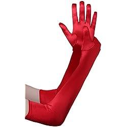 BABEYOND Guantes Largos hasta los Codos Guantes Nupciales Estilo Vintage 1920 Flapper Disfraces Guantes Novia Accesorios (Largo Liso 52cm / Rojo)