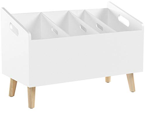 """LOMOS Design Bücherständer """"Mats"""" in weiß aus Holz (B/H/T: 60x 42x 30cm)"""