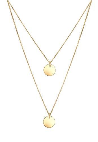 Elli Halskette Damen Halskette mit Plättchen Anhänger 2-lagig Layer Kreis in 925 Sterling Silber 45 cm lang