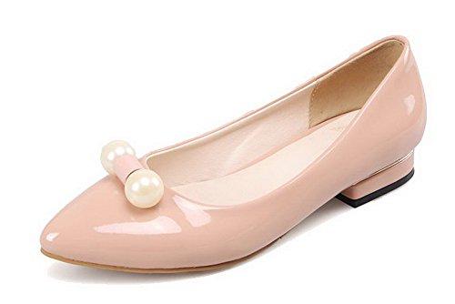 VogueZone009 Femme Couleur Unie Verni Non Talon Tire Pointu Chaussures à Plat Nu