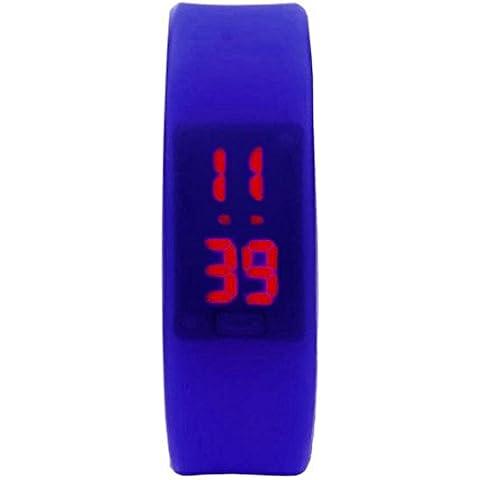 ZARU Unisex de goma pulsera de los deportes digital Fecha LED reloj de pulsera BK