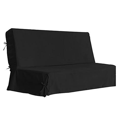 Housse de Clic-Clac à Nouettes, 80% Coton Lavable, Noir, Largeur 185 à 200 cm AMHCCS
