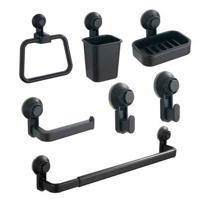 Kein Bohren Badezimmer-Zubehör-Set Saugnapf Kunststoff Schwarz Verstellbarer Handtuchhalter Handtuchhalter Mundstück Seifenschale, 4 Stck. 2 (Color : 6 Pcs, Size : -)