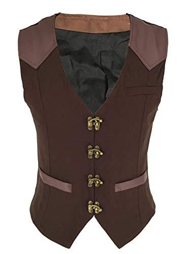Bslingerie® Herren Steampunk Jahrgang Gothic Kostüm Weste (Braun, XXL)