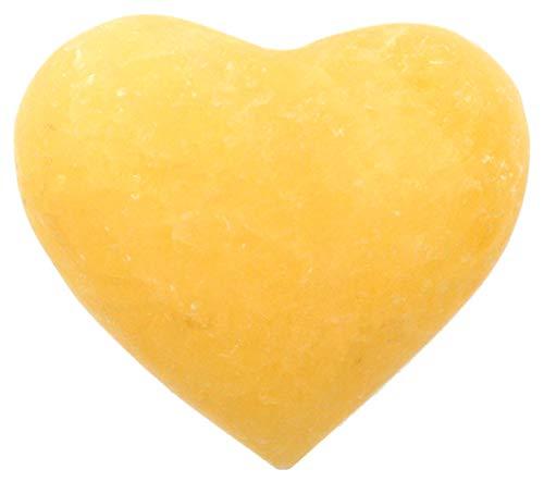 HBAR - Figura de corazón de ónix Naranja Cloudy, 4,4 cm de Largo, 5 cm de Ancho, 2,54 cm de Alto (1,75 LB), Tallado de ónix Real de América del Norte – La Serie Artesana Mined