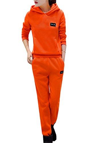 DaBag Ragazzi Donna Abbigliamento sportivo Felpe con cappuccio Maglioni Sportive Manica lunga Primavera Autunno Invernali Maglieria Tinta Unita Tasca Top Pantaloni Harlan Tw in Set Arancione