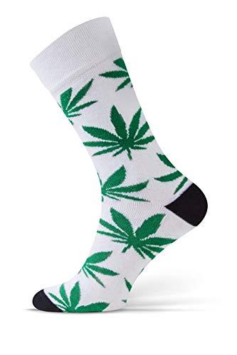 Sesto Senso® Lustige Socken Baumwolle Damen Herren 1er oder 3er Paar Wadensocken Unisex Wunderliche Seltsame Ungerade Fun Socks (35-37, Blatt - Weiß, Grün)