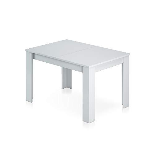 Habitdesign - Mesa de comedor extensible de 140 a 190 cm, medidas: cerrada 90 ancho x 140/190 largo 78 cm altura (Blanco Brillo)