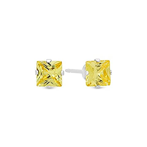 Princess Cut Simulated Citrine Yellow 4mm CZ Sterling Silver Stud Earrings