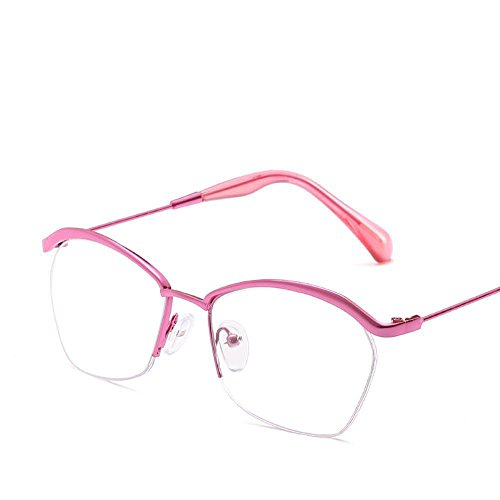 Luziang Halbe Augenbraue Frame männlich-weiblichen Frame Brille Dekoration kann Kurzsichtigkeit allgemeine Frame-freien Flache Spiegel G angepasst Werden Lasses,Fahren, Reisen, Outdoor-Sport
