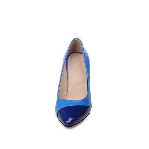 Adee Damen spikes-stilettos Patent Leder Pumpen Schuhe Blau