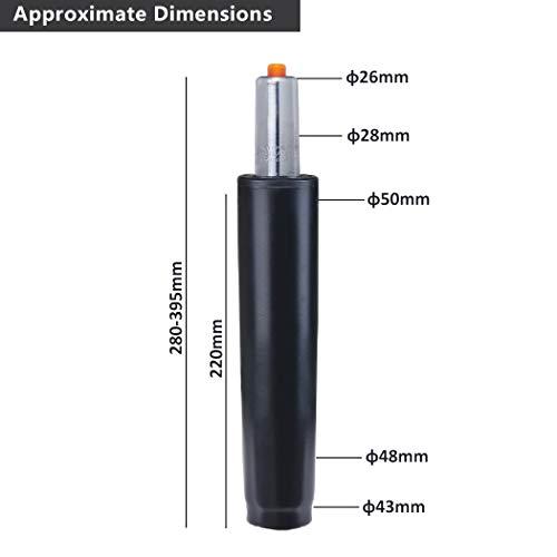 Duhome Gasdruckfeder Gasfeder Gas Lift Höhenverstellung für Stühle bis 180 kg Farbauswahl (29-40 cm, schwarz)