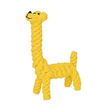 sp.hund/Newcomdigi Giocattolo Dentizione per Cani Gatti Corda in Cotone Intreccaita a Forma di Giraffa Massaggia Denti Pet Giocattoli Resistente Durevole - Giallo