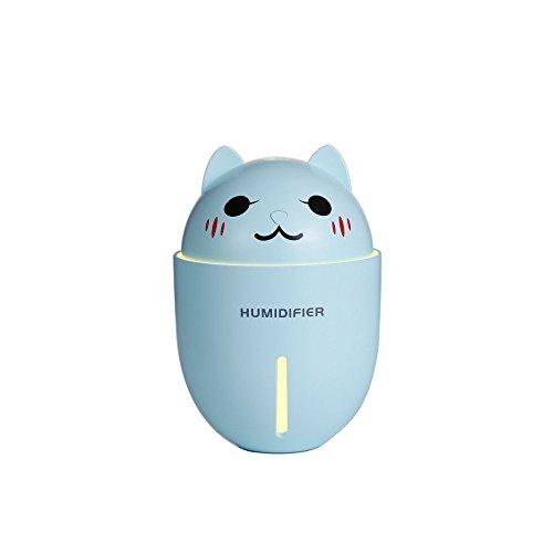 MX Creativo Dormitorio de Escritorio Mini Coche Aire Purificación Mute Dibujos Animados Lindo Mascota USB Portátil Triple humidificador,Azul,Un Tamaño XM