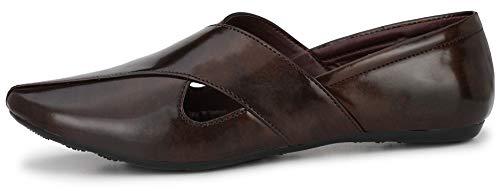 Flooristo Men's Patent Ethnic Formal Mojaris/Loafer Shoes (10 UK/India, Coffee)