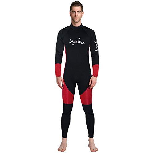EUCoo_ Wetsuit Neoprenanzug FüR Herren Fortgeschrittener Overall 3mm Wassersporttraining Grundlegende Tauch Surfbekleidung (Rot, XXL)