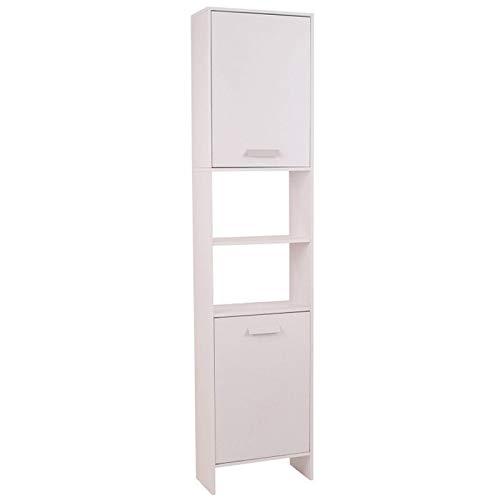 IDMarket - Meuble colonne salle de bain en bois design blanc
