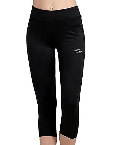 Cody Lundin Sport Short Pants Yoga Tight Ladies 3/4 Pantalons Femme Cargo Capri Pantalons (L, Noir)