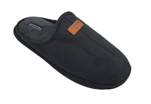 Herren Haus-Schuhe Pantoffeln Slipper Latschen Schlappen aus wärmendem Fleece Farben grau und schwarz Gr. 40 41 42 43 44 45 46 47 Grau