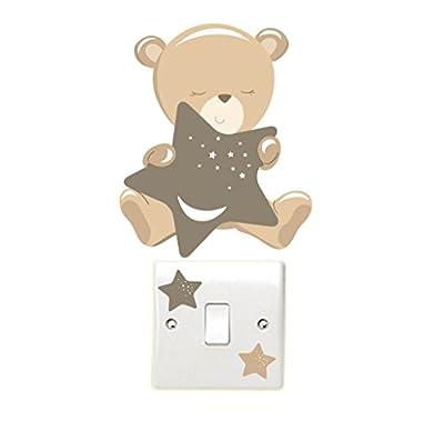 Teddybear & Stars - Brown - Light Switch Wall Stickers Children's Bedroom Playroom Fun Adhesive Vinyl - inexpensive UK light store.