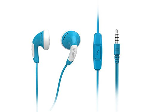 Maxell 303751 Colour Budz Plus Mic Stereo Ohrhörer mit Mikrofon 3,5 mm Klinke blau -