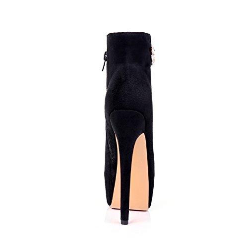 Onlymaker Damen Pumps Stiletto Stiefel High Heels Kurzschaft Stiefelette Boots Schuhe mit Plateau schwarz shin