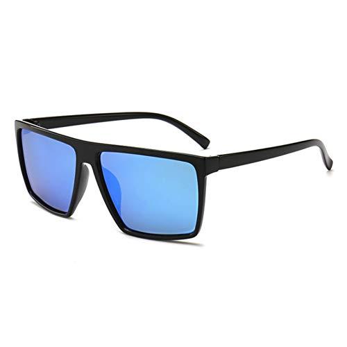 Siwen Neue Flat Top Hd Polarisierte Sonnenbrille Männer Oversize Driving Brille Square Women,Blauer Spiegel