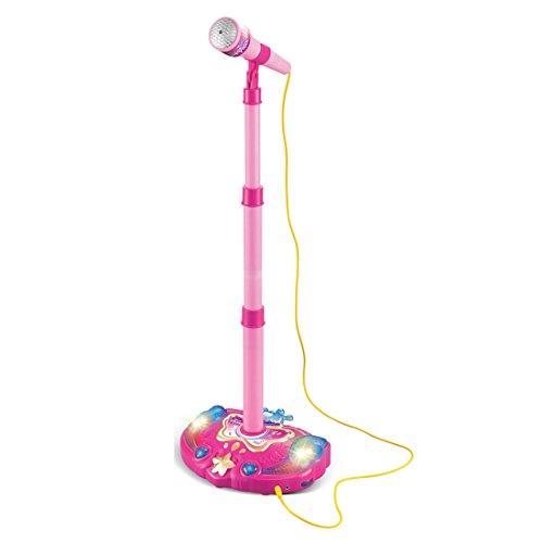 Kinder Mikrofon Spielzeug, Lommer Karaoke Verstellbarer Ständer Mikrofon Musik Mikrofon Spielzeug mit Lichteffekt (Rosa)