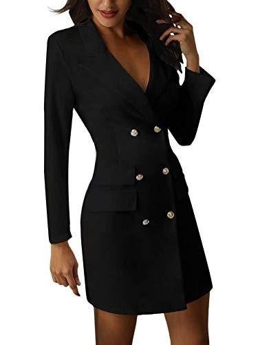 Minetom Mujer Blazer Manga Larga Chaqueta del Traje Mini Vestido Oficina Negocios Parte OL Cuello en V Botón Chaqueta Abrigo (ES 38, Negro)
