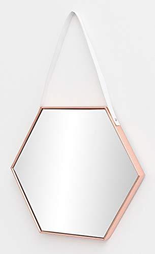 FineBuy Wandspiegel FB15928 48x57x4 cm Spiegel mit Rahmen Kupfer Flurspiegel Sechseckig | Hängespiegel Flur zum Aufhängen Groß | Garderobenspiegel Wand Modern | Dekospiegel Wohnzimmer Schlafzimmer