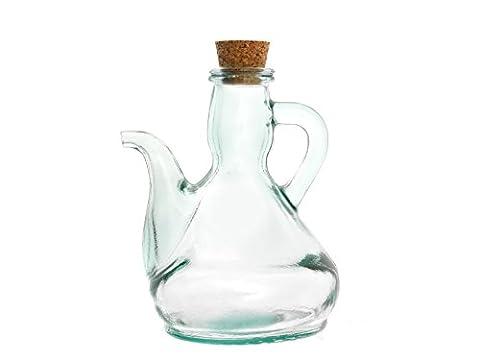 Home - Huilier en verre recyclé, bouchon en liège, 0,5 L, verre, vert clair, 14x 12x 18cm