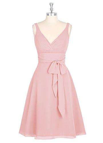 Dresstells, robe courte de demoiselle d'honneur avec nœud sans manches col en V Blush
