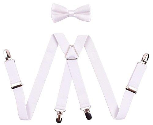 Bretelle a Forma di Y con Papillon In Poliestere Largo 2,5 CM Bretelle Bianche 6 Clips di Vari Colori E Stili Diversi