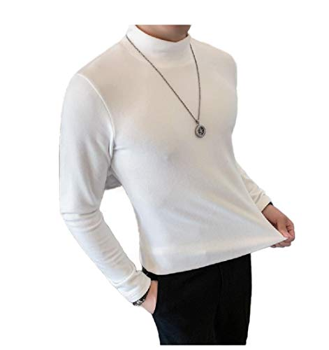 VITryst Men Mock Neck Fit Fall Winter Simple Brushed Solid-Colored Tees White S -
