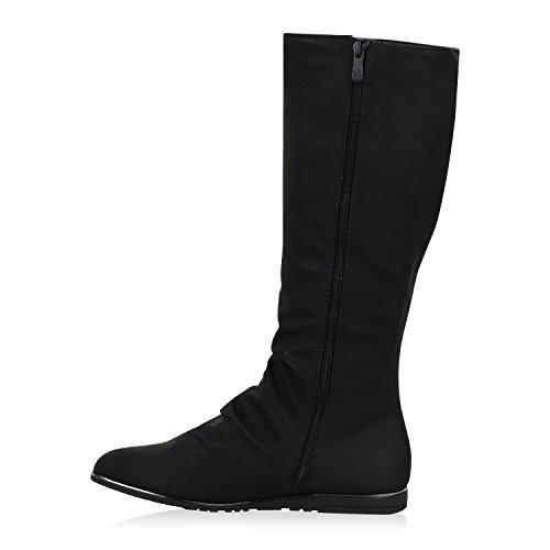 Warm Gefütterte Damen Stiefel Flache Winterstiefel Boots Schwarz