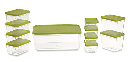 All Time Plastics Polka Container Set, 11-Pieces, Green