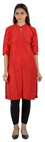 FIRST LOOK Women's Cotton Achkan Kurta (8_FL-RED_PLAIN--XXL, Red, XX-Large)