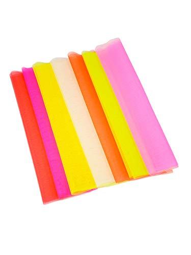 PSYWORK 7m Schwarzlicht Tüll Farbset 7 Farben je 1m Neon Party Dekostoff