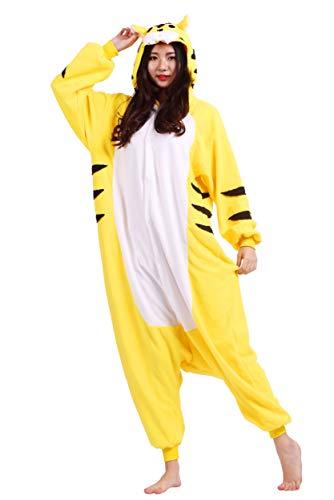 Kigurumi Pigiama Animali Adulto Unisex Pigiama Party Halloween Sleepwear Cosplay Costume Onesie, Giallo Tigre