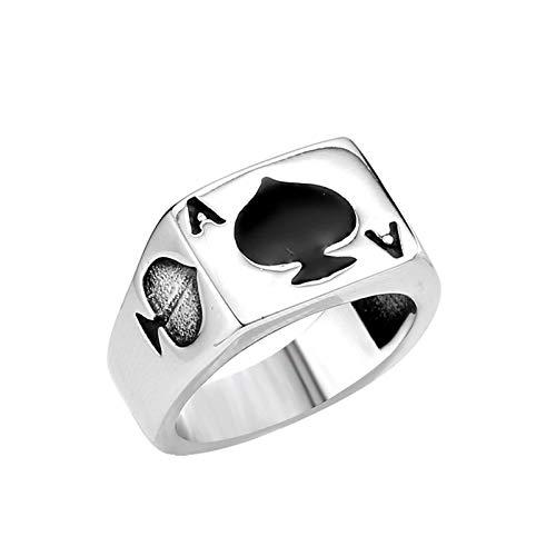 KnBoB Edelstahl Herren Ring Kartenspiel Poker A Schwarz Silber Gothic Herren-Ring Silber Freundschaftsring Größe 57 (18.1) (Edelstein-halskette Schwert)