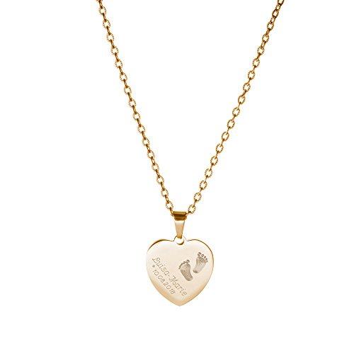 s Gold-Edelstahl mit Herz Anhänger - Gravur mit Kinder Füßchen - Personalisiert mit Namen und Datum ()