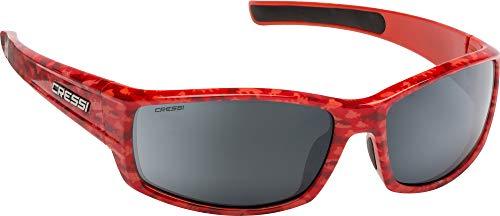 Cressi Unisex- Erwachsene Hunter Sunglasses Sport Sonnenbrille, Rot Camouflage/Verspiegelte Linsen Silber, One Size