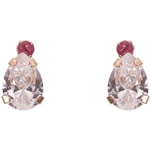 AmberJay oro 9 K e Zirconia cubica, a forma di pera &-Orecchini a bottone con rubino
