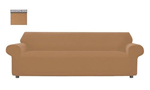 Copridivano genius tinta unita, per divano xl 4 posti, colore biscotto 1010