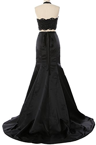 MACloth Gorgeous Mermaid 2 Piece Long Prom Dress Halter Lace Formal Evening Gown Burgundy