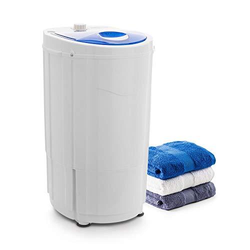 oneConcept Top Spin Compact Wäscheschleuder - Camping-Wäscheschleuder, schonendes Vortrocknen, 1,5kg Fassungsvermögen, platzsparend, 45 W, Timer-Funktion, energiesparend, laufruhig, weiß-blau