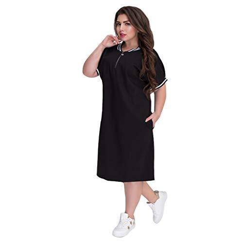 Damen Casual Langes Shirt Lose Tunika Kurzarm T-Shirt Kleid Schwarz XXXXXXL
