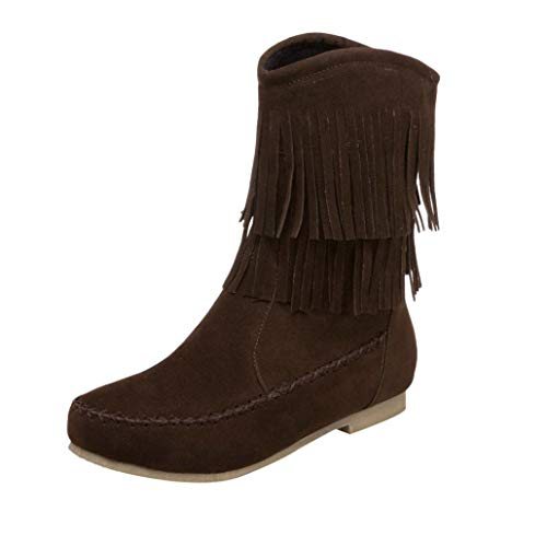 ❤️ Outdoor Herbst Frühling Fransen Stiefel, Amlaiworld Gemütlich warm flach Schuhe Damen Freizeit elegant Halbschuhe Stilvoll Urlaub Mode Stiefeletten